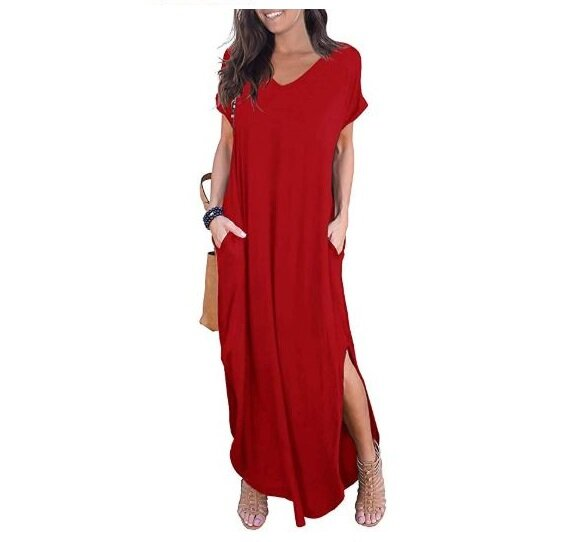 2.GRECERELLE Women's Casual Loose Pocket Long T-shirt Dresses Short Sleeve Split Maxi Dresses