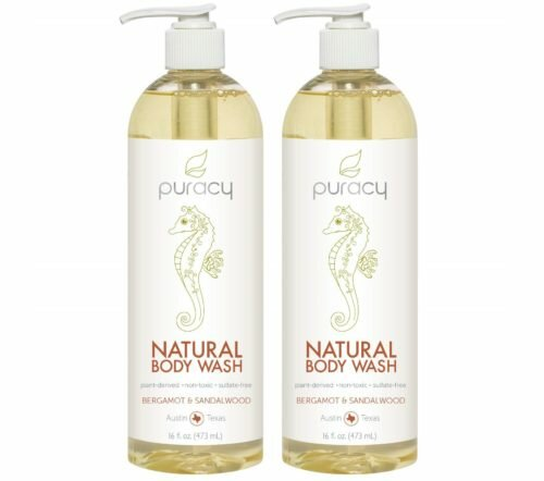 2.Puracy Natural Body Wash, Bergamot & Sandalwood, Shower Gel for Men and Women, 16 Ounce (2-Pack)