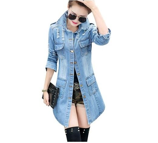 4.Tanming Women's Casual Lapel Slim Long Sleeve Denim Outercoat Jacket Windbreaker