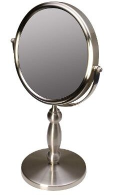 Floxite Dual-sided 1x and 15x Vanity Mirror, Brushed Nickel