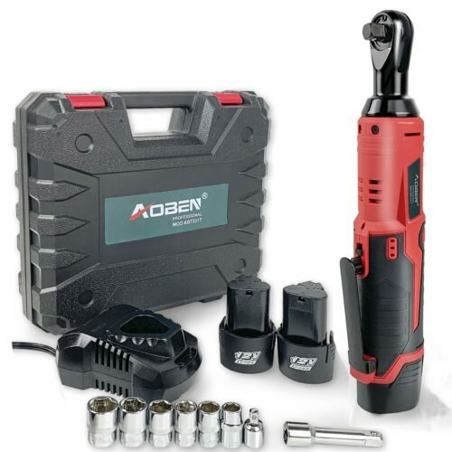 "Cordless Electric Ratchet Wrench Set, AOBEN 3/8"" 12V Power Ratchet Tool Kit"