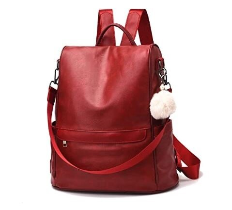 4.Women Backpack Purse PU Leather Anti-theft Casual Shoulder Bag Fashion Ladies Satchel Bags