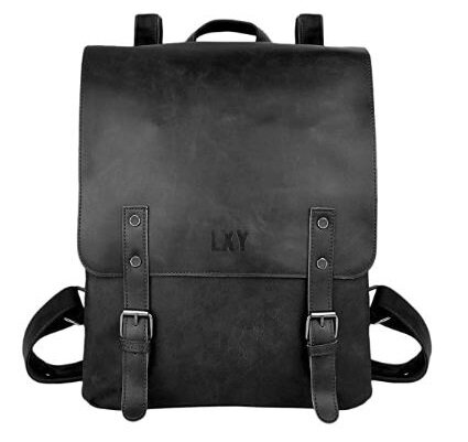 8.LXY Vegan Leather Backpack Vintage Laptop Bookbag for Women Men