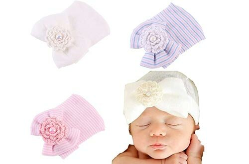 Ever Fairy 3 Pcs Newborn Hospital Hat Infant Baby Hat Cap with Big Bow Soft Cute Knot Nursery Beanie (White,Blue,Pink)