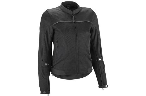 Highway 21 Aira Mesh Women's Motorcycle Jacket W/CE Armors/Reflective Piping/Water Resistant Liner Black