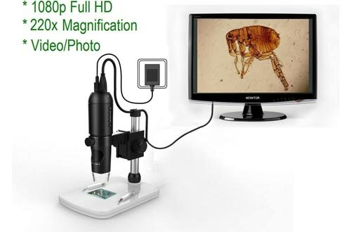 Mustcam 1080P Full HD Digital Microscopes, HDMI Microscope, 10x-220x magnification, to Any Monitor/TV with HDMI-In, Photo Capture, Micro-SD Storage