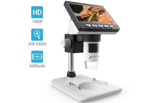 LCD Digital Microscope, SKYBASIC 4.3 inch 50X-1000X Magnification Zoom HD 1080P 2 Megapixels Compound 2600 mAh Battery USB Microscope 8 Adjustable LED Light Video Camera Microscope with 8G TF Card