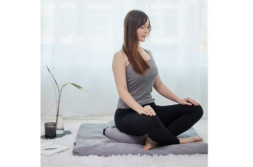 Mindful and Modern Zabuton Meditation Mat – Cotton Meditating Cushion for Best Kneeling and Sitting Support – Large Rectangular Floor Pillow for Zafu or Bench