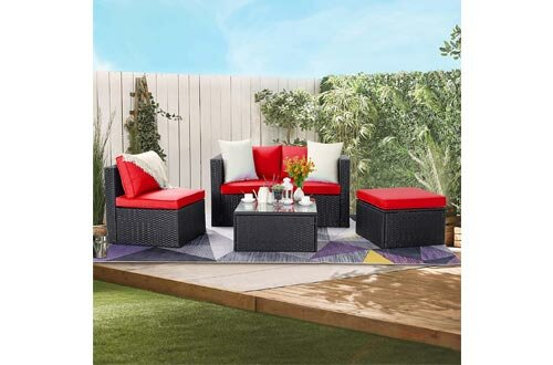 Waleaf Outdoor Furniture 5-Piece Rattan Sectional Patio Sofa, Outdoor Indoor Backyard Porch Garden Poolside Balcony Wicker Conversation Set with Glass Table