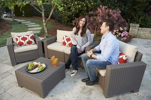 Keter California All Weather Outdoor 2-Seater Patio Sofa Loveseat with Cushions in a Resin Plastic Wicker Pattern