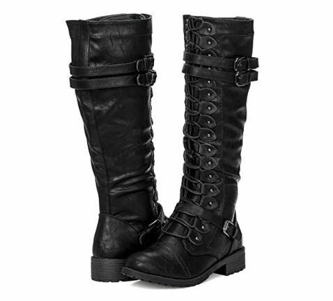10. ILLUDE Women's Knee High Combat Boots Lace Up Military