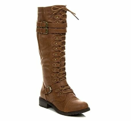 8. Wild Diva Women's Lace Up Knee High Combat Boots